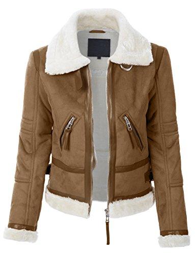 Womens Faux Shearling Jacket (RubyK Womens Winter Shearling Faux Fur Suede Biker Moto Jacket)