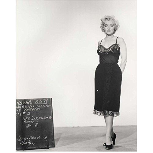 Marilyn Monroe 8 Inch x10 Inch Photo Some Like It Hot The Seven Year Itch Gentlemen Prefer Blondes B&W in Dark Dress w/Lace at Hemline Next to Chalkboard Hands Behind -