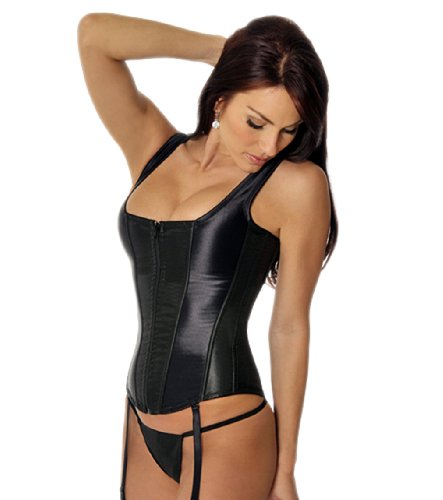 Boned Corset Garter Lingerie (SO SEXY LINGERIE (TM) Steel Boned Zip Front Corset, G-String, Garters Set 34 Black)