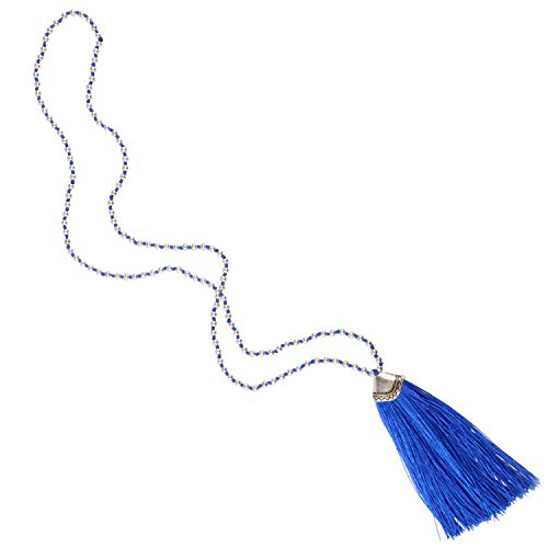 Silver Bead Chain Tassel Necklace product image
