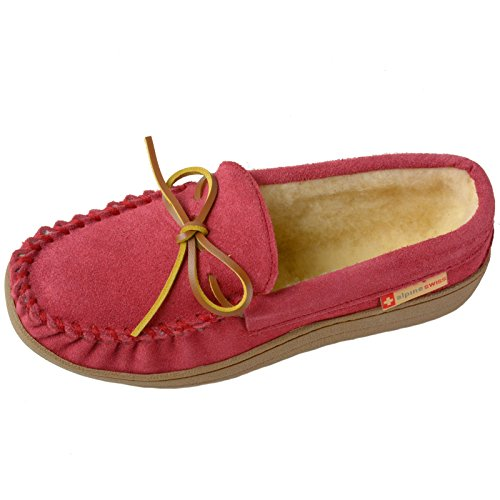 Pictures of alpine swiss Sabine Womens Genuine Suede Shearling By Alpine Swiss 2