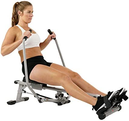 Sunny Health Fitness SF-RW5639 Full Motion Rowing Machine Rower w 350 lb Weight Capacity and LCD Monitor