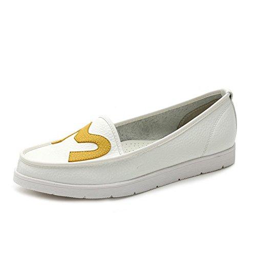 Cuxialilin Kvinna Rund Sluten Tå Mjukt Material Dra På Flats-shoes White-m