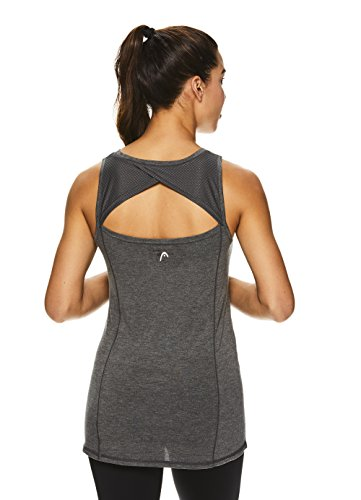 HEAD Women's Racerback Workout Tank Top - Ladies Activewear Shirt w/Open Back Detail - Charcoal Heather Duality, Large ()