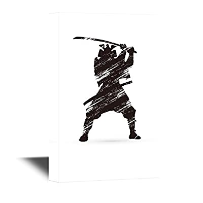 Japanese Culture Canvas Wall Art - Japanese Ninja with a Sword - Gallery Wrap Modern Home Art | Ready to Hang - 12x18 inches