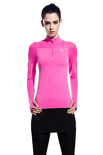 Women's Zipper Long-Sleeve Yoga Compression Sweatshirts (Pink, Medium)