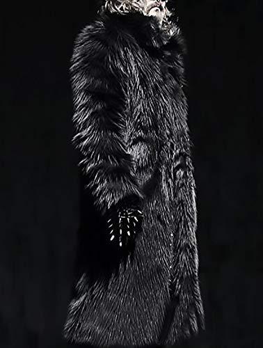 Donna Grazioso Coreana Lunga Cappotto Finta Unisex Stlie Monocromo Giaccone Pelliccia Hot Pelliccia Uomo Addensare Giacca Lunga Invernali nbsp;Giacca Moda Di Sciolto Manica Pelliccia Nero Autunno Cappotti Collo 8CEfw