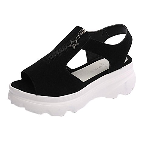 Anxinke Summer Shoes Cotton Fabric Peep-toe Sandals with Platform Black GrCncY5