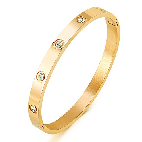 Mocalady Jewelry 18 K Gold Bangle Bracelet Set In Stone Hinged Stainless Steel With Crystal Bangle for Women Small Size 6.7