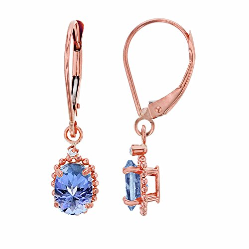 Gold Oval Ring 14k Tanzanite - 14K Rose Gold 1.25mm Round White Topaz & 6x4mm Oval Tanzanite Bead Frame Drop Leverback Earring