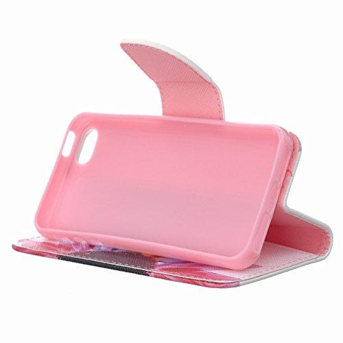 iphone SE (2016) Pochette Etui Housse, Ougger Rainbow Fleur [Série Peinte] Premium PU Cuir Purse Flip Flap Porte-Cartes Stand Magnétique Closure Protecteur Bumper Coque Etui Housse for Apple Iphone SE