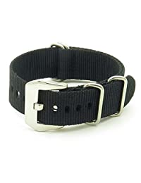 StrapsCo 20mm Premium Black Nato Zulu G10 Ballystic Nylon Watch Strap with Pre-V Buckle