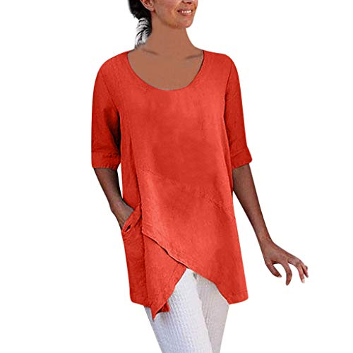 Women Cross Design Half Sleeve Cotton And Linen Blouse Tops T Shirt With Pocket
