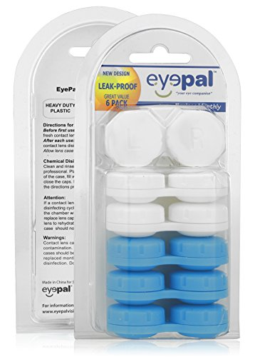 Contact Lenses White (Assorted Heavy Duty Leak Proof Contact Lens Cases 6 Pack - Reusable Cases for Contact Lens Care | Total Eye Care Kit 6 pk Travel Cases for Soft | Hard Contact Lenses - Includes 3 White | 3 Blue Cases)
