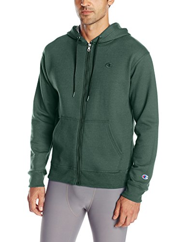 (Champion Men's Powerblend Full-Zip Hoodie, Dark Green, Large)