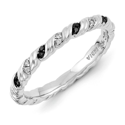 2.25mm Sterling Silver Stackable Expressions Twist Design 0.16 ctw Black and White Diamond Band - Size 7 by Stackable Expressions