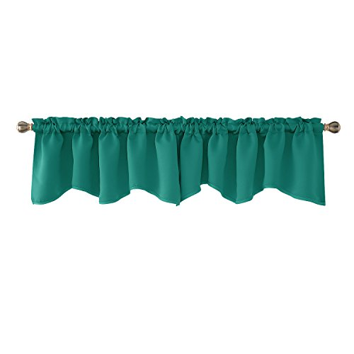 Deconovo Turquoise Valances for Living Room Scalloped Kitchen Valance Rod Pocket Blackout Valance Curtain 42x18 Inch 2 PCS (Windows For Valances Turquoise)
