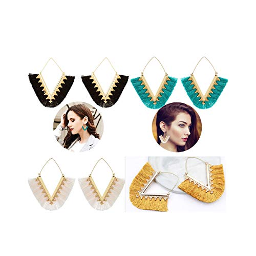 Tassel Earrings for Women Geometric Triangle Hoop Earrings Bohemian Jewelry Silky Tassel Dangle Earrings 4 Pairs