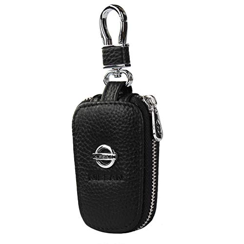 car Key Chain Keychain,Genuine Leather Car Smart Key caseKey Chain Keychain Holder Metal Hook and Keyring Zipper Bag for Remote Key Fob (Nissan)