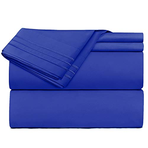 Nestl Bedding 4 Piece Sheet Set - 1800 Deep Pocket Bed Sheet Set - Hotel Luxury Double Brushed Microfiber Sheets - Deep Pocket Fitted Sheet, Flat Sheet, Pillow Cases, Queen - Royal Blue