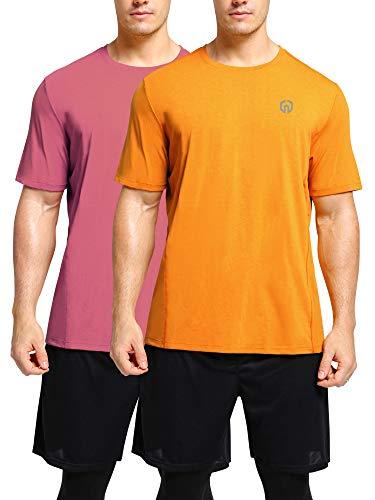Neleus Men's Workout Shirts Short Sleeve Athletic Running T-Shirt,2 Pack,Yellow/Peachblow,S,EU M 2 Sports Yellow T-shirt