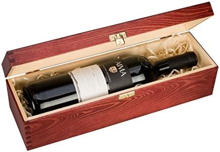 Botella individual, caja de regalo de madera para vino, champán o whisky (Borgoña) vino no incluido: Amazon.es: Hogar