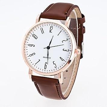 Relojes Hermosos, Hombre Mujer Reloj Deportivo Reloj de Vestir Reloj de Moda Reloj de Pulsera Chino Cuarzo PU Banda Casual Negro Marrón (Color : Café) : ...