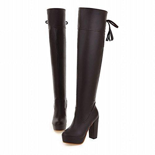 Mee Shoes Damen reizvoll chunky heel Plateau Langschaft Stiefel Braun