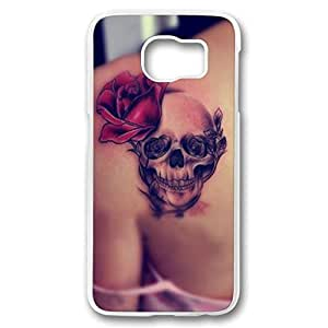 iCustomonline Hard Back Cover Case PC Transparent Shell Skin for Samsung galaxy S6 with Skull and Rose Tattoo Kimberly Kurzendoerfer