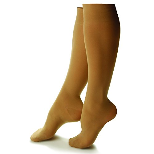 (Doctor Comfort Compression Knee High 10-15mmHg Women's Sheer Comfort (X-Large, Honey))