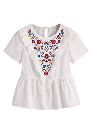 Romwe Women's Cut Sleeveless Embroidery Peplum Top Cotton Blouse White-3 Large ()