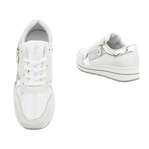 Mode Baskets Chaussures Low A Plat Espadrilles Sneakers Femme design Blanc 258 Ital Argent wax5xqSHE