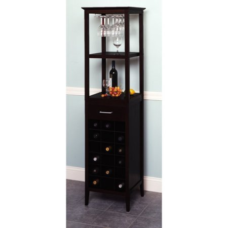 Tower Wine Rack - 18-Bottle Wine Tower With Rack and Shelves