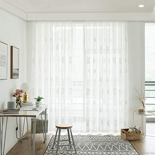 Yastouay Embroidered Sheer Curtains Flora Design Window Voile Panels Semi Sheer Curtains for Bedroom Living Room Set of 2 Curtain Panels 52W x 84L Inch (Voile Cotton Panels)