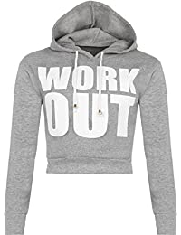 WearAll Women's Cropped Short Work Out Print Long Sleeve Hoodie