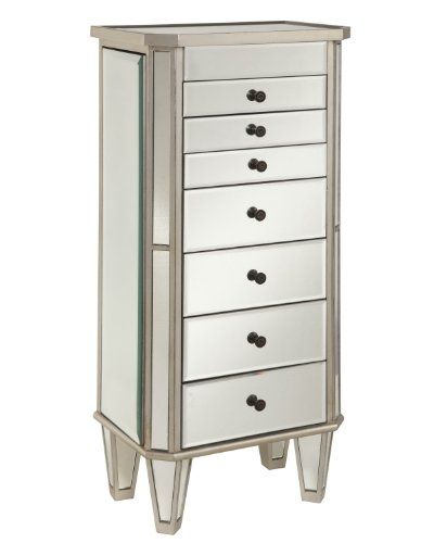 Powell 233-314 Mirrored Jewelry Armoire with Silver Wood, ()