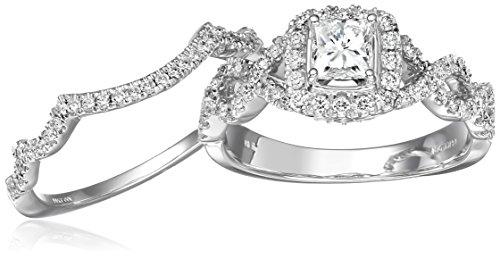 IGI Certified 14k White Gold Diamond Halo Infinity Twist Bridal With  Princess Cut Center Wedding Ring