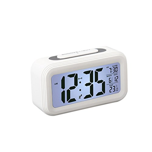 WINOMO LCD Temperature Display Nightlight Digital Alarm Clock for Bedroom (White) by WINOMO