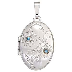 Medallón de plata de ley 925 Circonita Azul 2