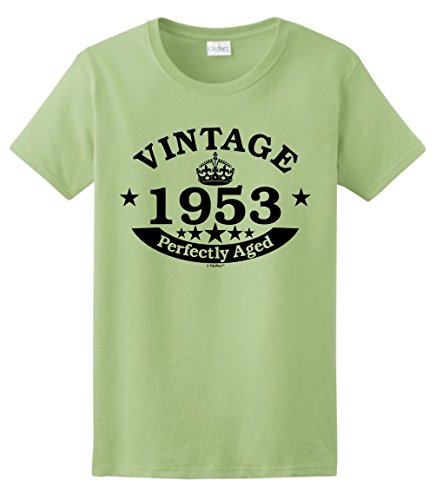 65th Birthday Candles Cards 65th Birthday Gift Vintage 1953 Perfect Aged Crown Ladies T-Shirt Medium Pistachio 1 Vintage Inspired Tee