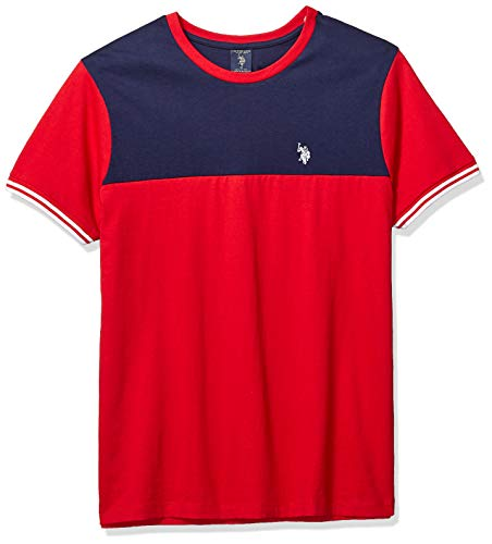 U.S. Polo Assn. Men's Two Tone Crew Neck T-Shirt, Engine red, L