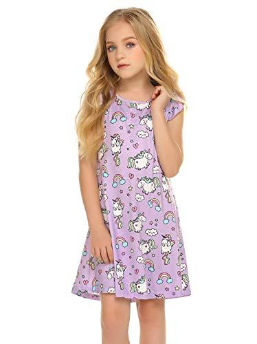 Balasha Girls Nightgown Nightdress Unicorn Shirt Pajamas Dress for Kids Sleepwear Nighty Purple, 3-4 Y]()