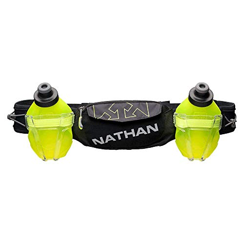 Nathan Hydration Running Belt Trail Mix Plus - Adjustable Running Belt - TrailMix Includes 2 Bottles/Flask - with Storage Pockets. Fits Most iPhones and Smartphones