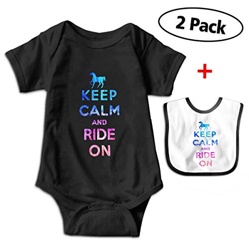 Leopoldson Rainbow Horse Equestrian Keep Calm Baby Bodysuits Short Sleeve Infant Onesies with Baby Bib ()
