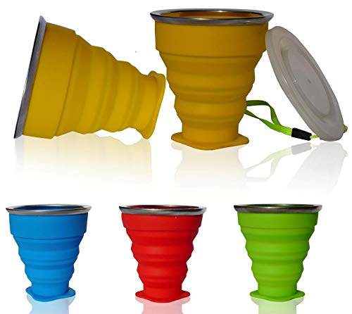 AVALEISURE Collapsible Silicone Travel Cup - The Genuine 10oz Foldable Drinking Mug with Lid, BPA Free, Water, Coffee, Tea, Snacks for Hiking, Camping, Picnic, 1 Yellow Cup