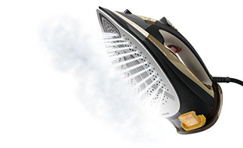Philips GC4527/00 Dampfbügeleisen Azur Performer Plus (2600 W, 220g Dampfstoß, T-Ionic-Glide Bügelsohle, integrierte Kalkkassette) schwarz/gold 2