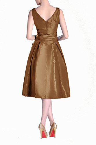 Taffeta line A Formal Bridesmaid Tea neck V Cocoa Length bridesmaids Pleated Modest Dress qqtFB0