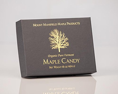 Mansfield Maple- 1 LB (16oz) Pure Vermont Maple Sugar Candy (48 Candies) Certified Organic
