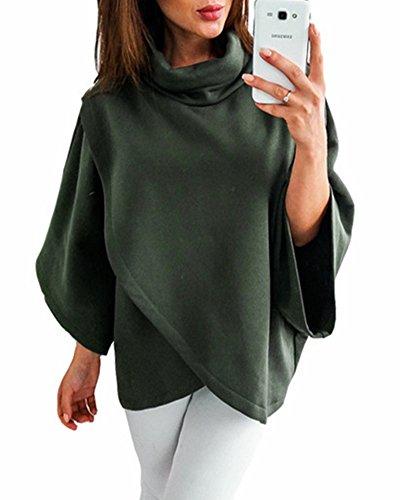 ZJFZML Long Sleeve Tunics Women, Ladies High Collar Hipster Fashion Basic Woke Tee Blouse Asymmetric Hem Comfortable Clothing Thickweight Knit Warm Shirts For Winter Green - Fashion Hipster High