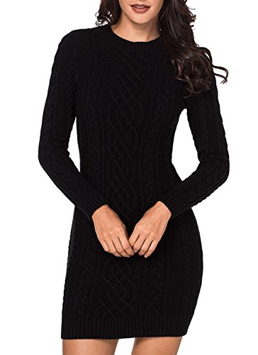 ea1cdd9bf9 Women s Long Sleeve Crew Neck Cable Knit Slim Fit Pullover Sweater Dress  Casual Bodycon Midi Pencil